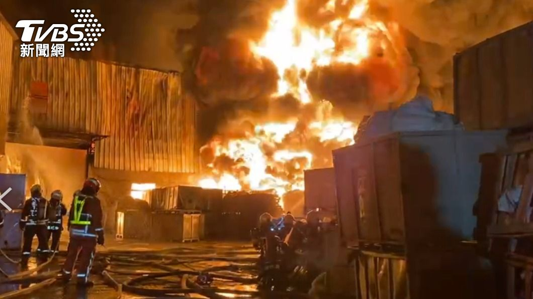 后里橡膠工廠5度起火,31日將拆除。(圖/中央社) 后里橡膠工廠5度起火 中市府31日拆除