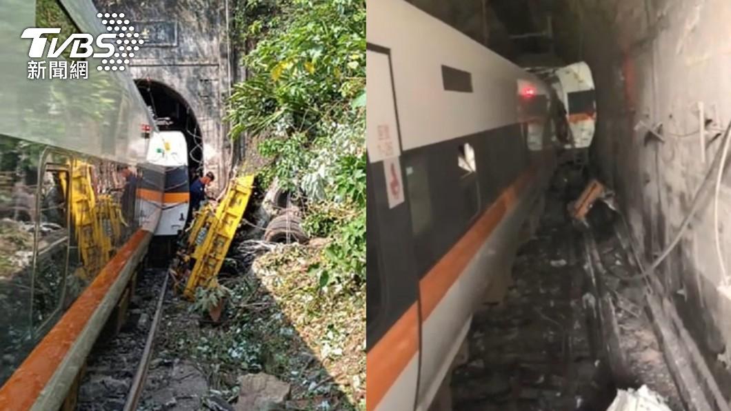 (圖/消防署、網友提供) 太魯閣號花蓮出軌 車廂變形卡隧道「慘烈畫面」曝光