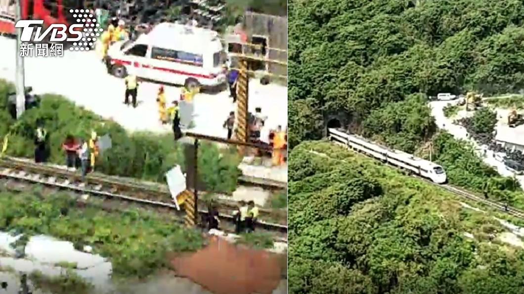 該起事故目前已37人身亡。(圖/TVBS) 工程車10米高邊坡墜落!太魯閣號最新「空拍畫面」曝光