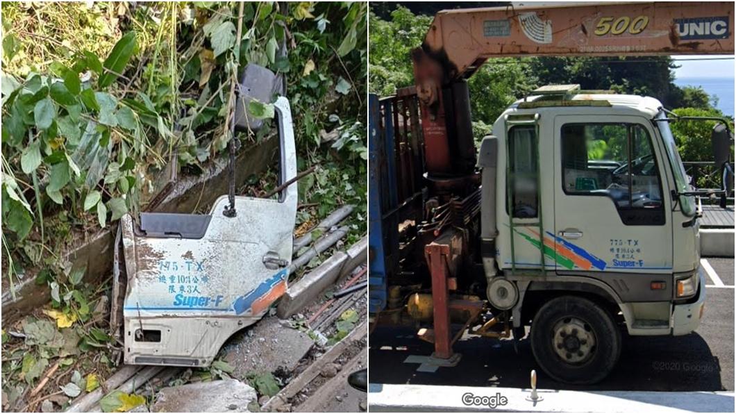 釀禍工程車(左圖),Google地圖街景(右圖)。(圖/翻攝自阿美族的歌臉書、Google地圖) 太魯閣事故肇禍工程車曝 超強網友挖出「街景圖」對比