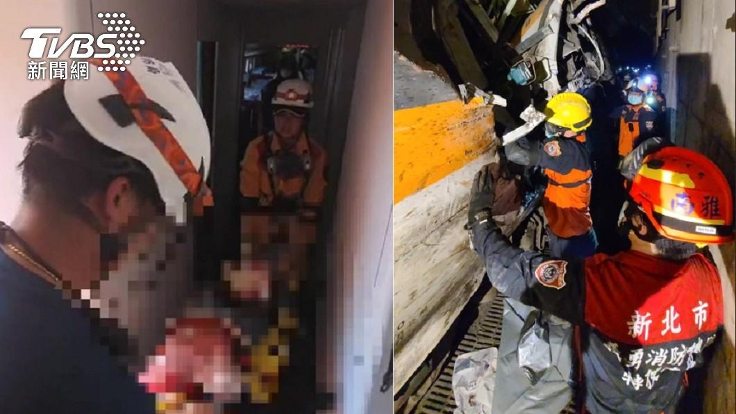 車廂內已無受困人員。(圖/TVBS) 太魯閣撞擊人飛出!第4車乘客「還原煉獄經過」鑽縫逃死