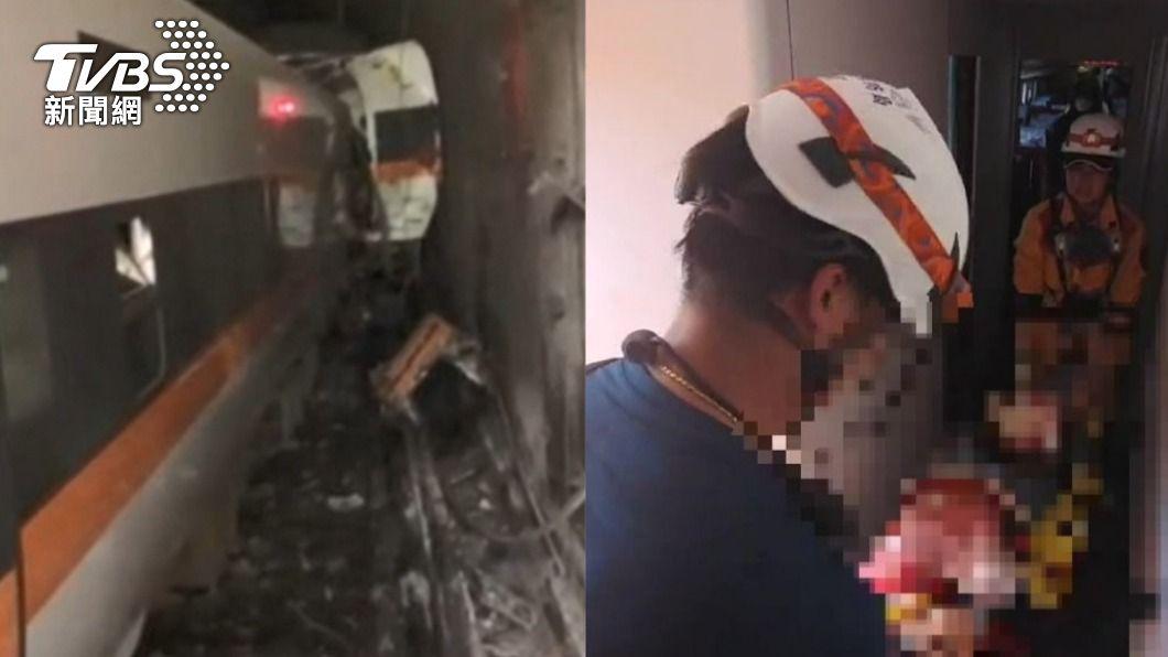太魯閣408次出軌意外,已造成51死、198人輕重傷。(圖/TVBS) 親睹站票客拋飛!一家3口負傷「跨遺體」求救:心很痛