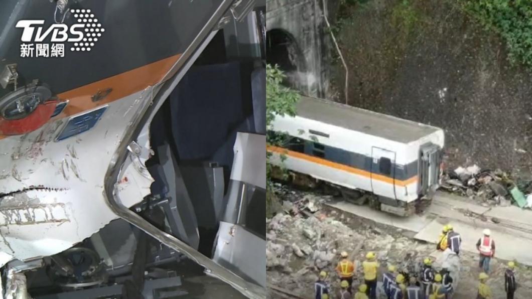 台鐵太魯閣號出軌意外造成50人罹難。(圖/TVBS) 最後1具遺體卡4天移出車廂 搜救隊敬禮齊喊:回家了