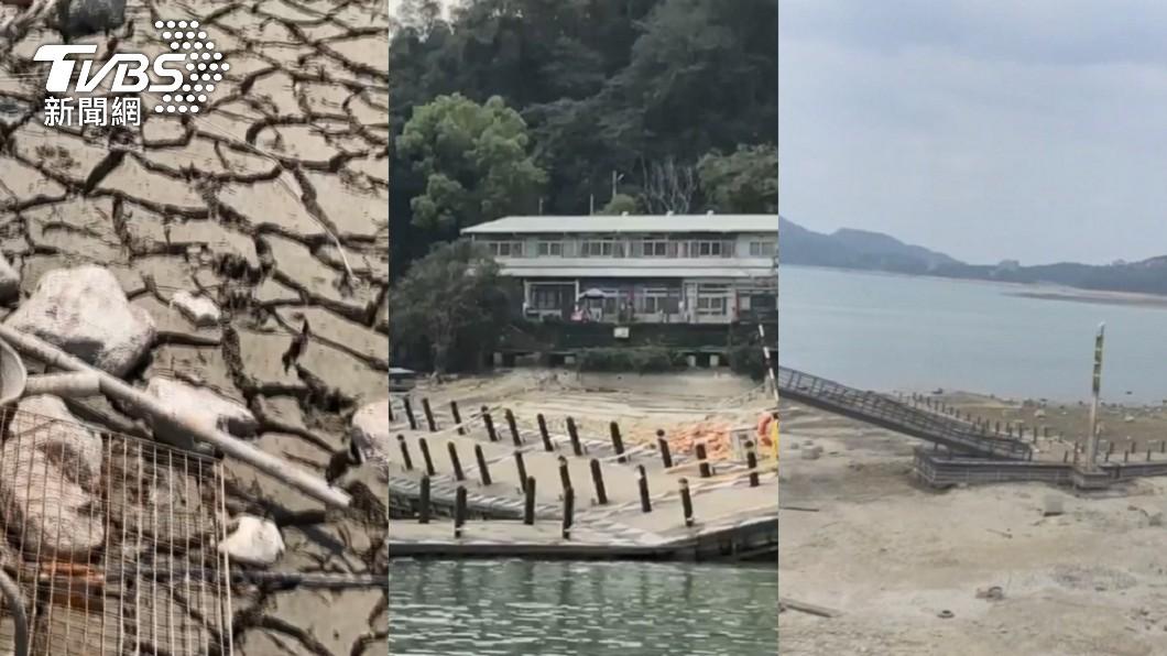 日月潭水位探歷史新低。(圖/TVBS) 水位探新低「抽到剩泥巴水」 日月潭明舉辦祈雨法會