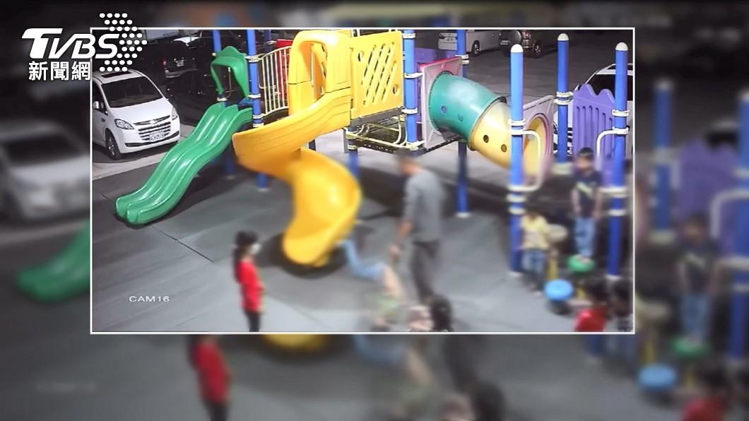 圖/TVBS 大漢抓男童轉圈 稱「他踢我我把他抓住」