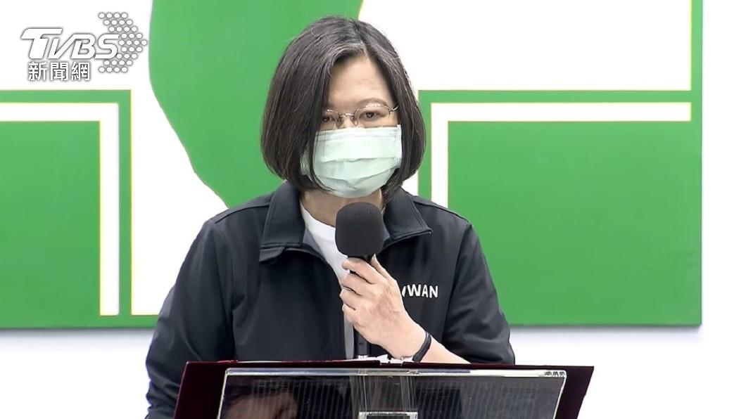 蔡英文今日發表談話。(圖/TVBS) 「改善組織、解決虧損」 蔡英文宣示改革台鐵勢在必行