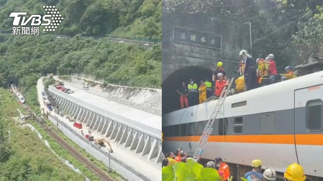 台鐵408車次太魯閣號2日撞上從邊坡滑落的工程車。(圖/TVBS) 明頭七!全台火車9時28分鳴笛30秒悼念