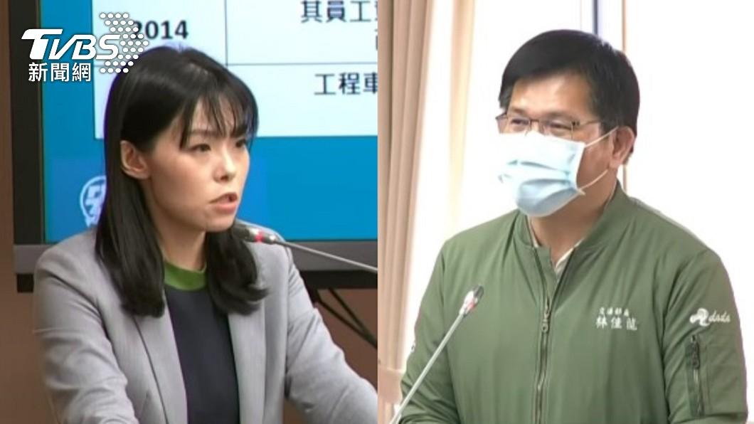 立委高虹安質詢交通部長林佳龍。(圖/TVBS) 李義祥被判刑交通部狀況外 立委轟林佳龍:還跟我要資料