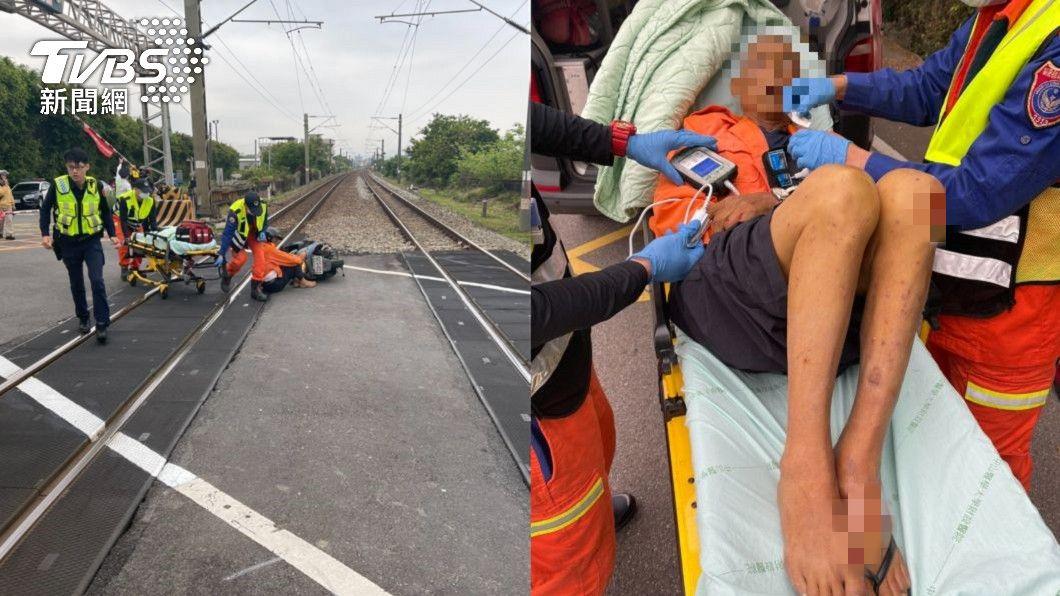 (圖/TVBS) 自強號剛出站驚見「騎士自摔躺軌道」 司機員急煞車