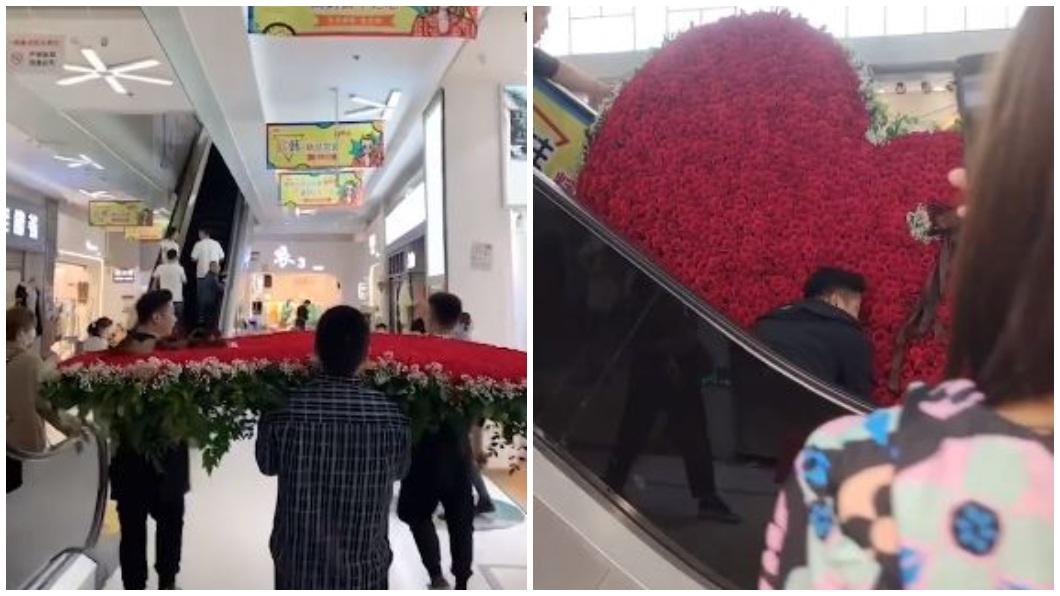 大陸四川一名男子準備了1314朵玫瑰花要和前妻求復合。(合成圖/翻攝自微博) 備1314朵玫瑰拼愛心求復合 陸男搬運撞爛「心碎」