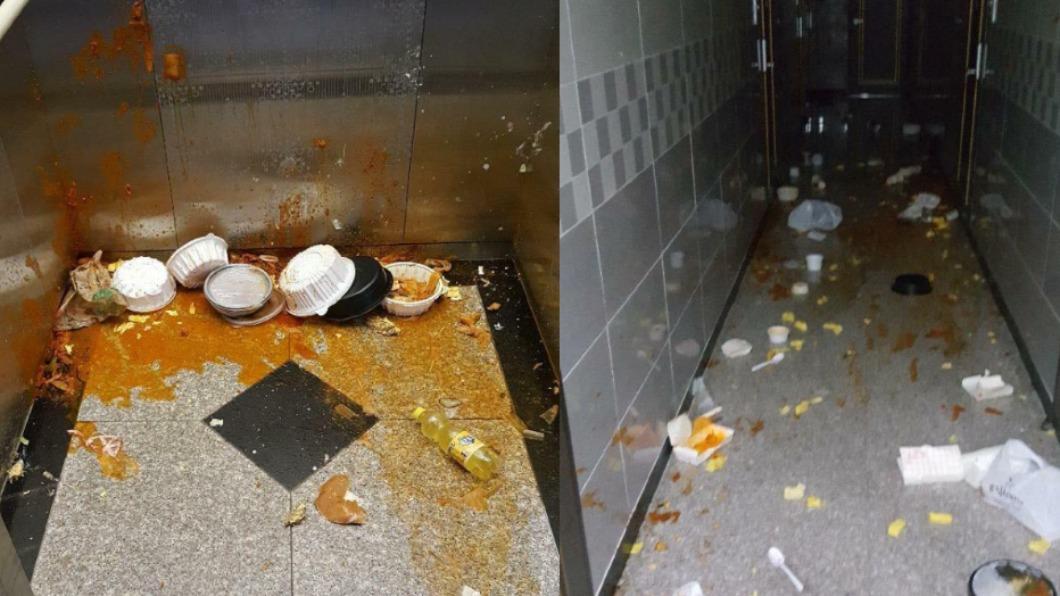女子將食物灑得四處都是。(圖/翻攝自臉書「천안 대신전해드려요」) 韓女豪訂2萬元餐點 一口不吃「狂潑公寓」轟炸走廊電梯