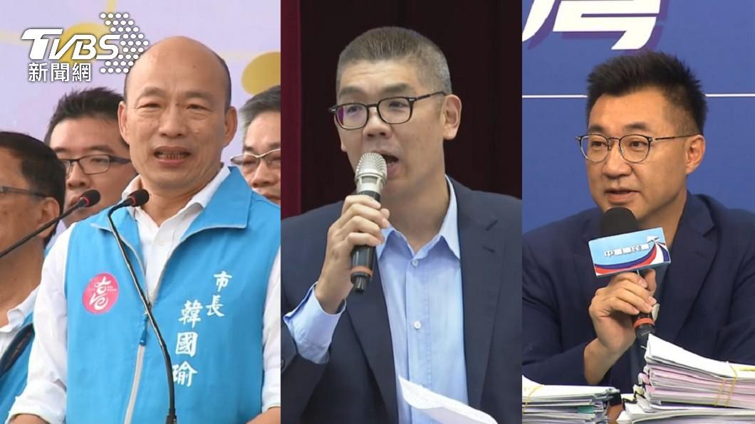 韓、連、江在活動上同框。(圖/TVBS資料畫面) 韓國瑜現身高歌粉絲喊「選黨魁」 連勝文挺自己