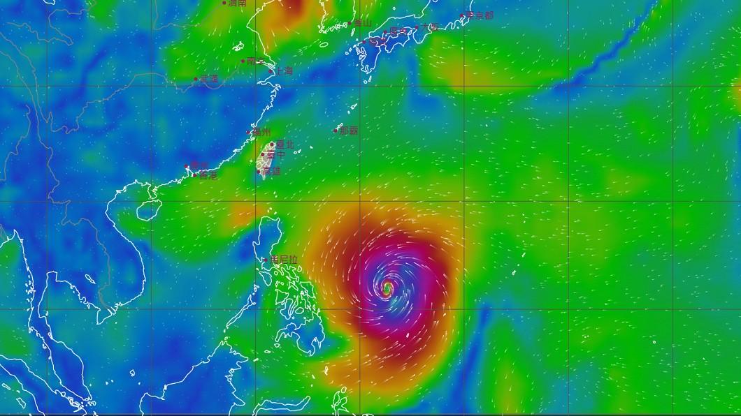 4月17日風場預報顯示圖。(圖/翻攝自中央氣象局) 明暖熱如夏 「巨型颱風恐生成」下波轉雨時間出爐