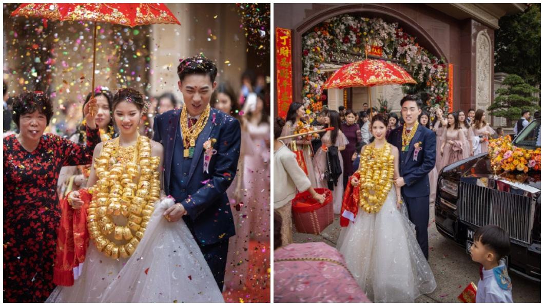 大陸廣東一名新娘出嫁時,脖子上掛了幾串由龍鳳手鐲串成的項鍊。(圖/翻攝自微博) 狂!「90個龍鳳手鐲」掛滿脖 陸新娘出嫁超震撼