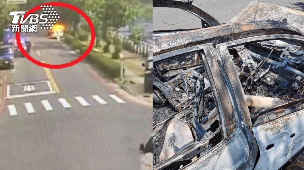 一輛失控車衝撞路邊停放的整排汽車,接著起火燃燒。(圖/TVBS) 衝撞4車後變火球!目擊者幫救人 肇事駕駛險燒死