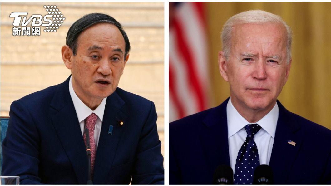 日本首相菅義偉(左)與美國總統拜登(右)將於白宮進行雙邊會談。(圖/達志影像路透社) 美日會談 拜登、菅義偉聯合聲明將觸及台灣議題