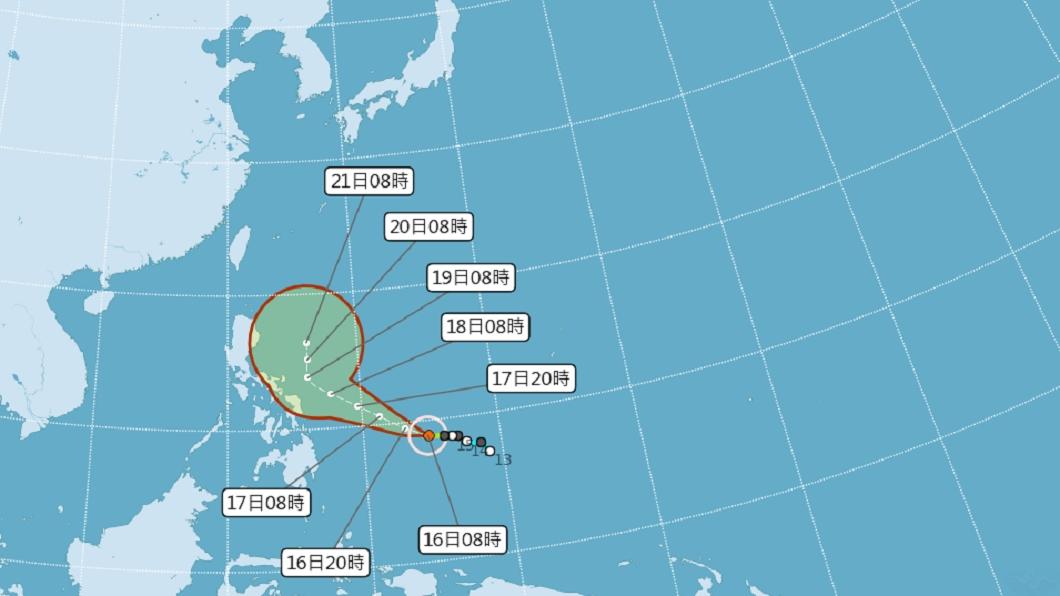 颱風「舒力基」不排除升級為強颱。(圖/翻攝自中央氣象局) 「舒力基」轉中颱恐再增強!路徑北轉影響台機率曝