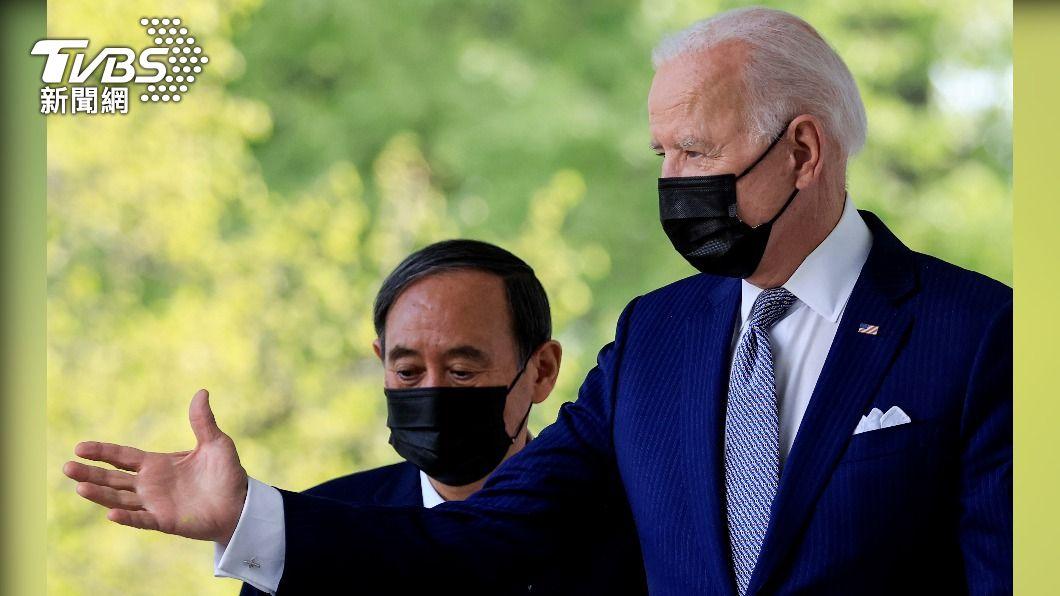 日本首相菅義偉(左)與美國總統拜登(右)參與美日峰會。(圖/達志影像路透社) 美日聯合聲明觸及台灣 日媒:強烈挑動大陸神經