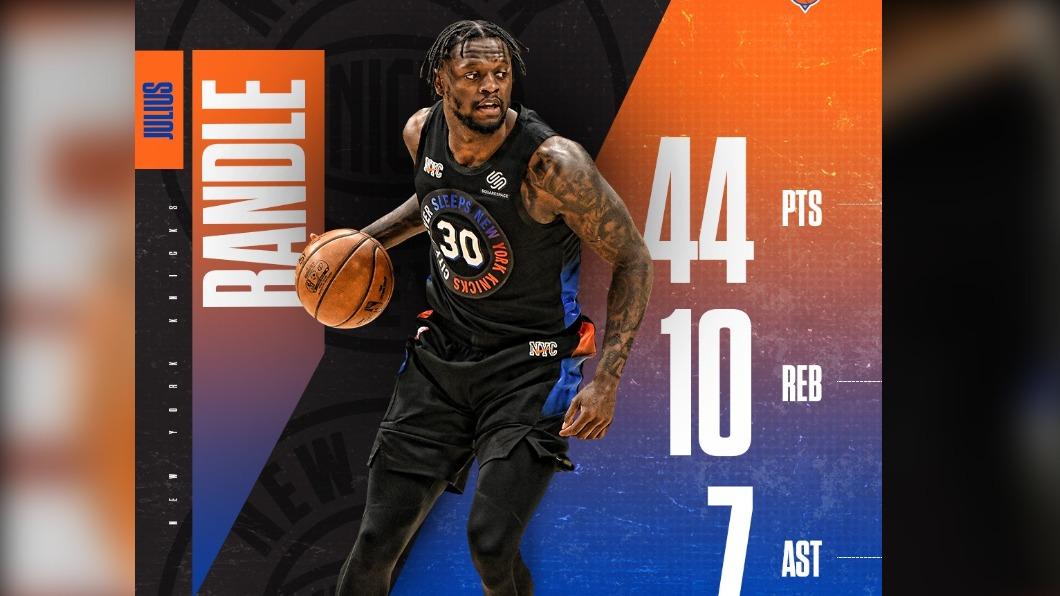 NBA紐約尼克前鋒藍德爾。(圖/翻攝自NYKnicks臉書官網) NBA尼克前鋒藍德爾轟44分 收7年來最長5連勝