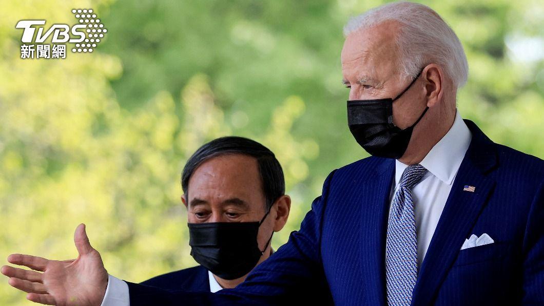 美國總統拜登與日本首相菅義偉會談後,兩國發表的聯合聲明,52年來第一次明確記載「臺灣」。(圖/達志影像路透社) 美日峰會聯合聲明提及台灣 日媒:如美國所願