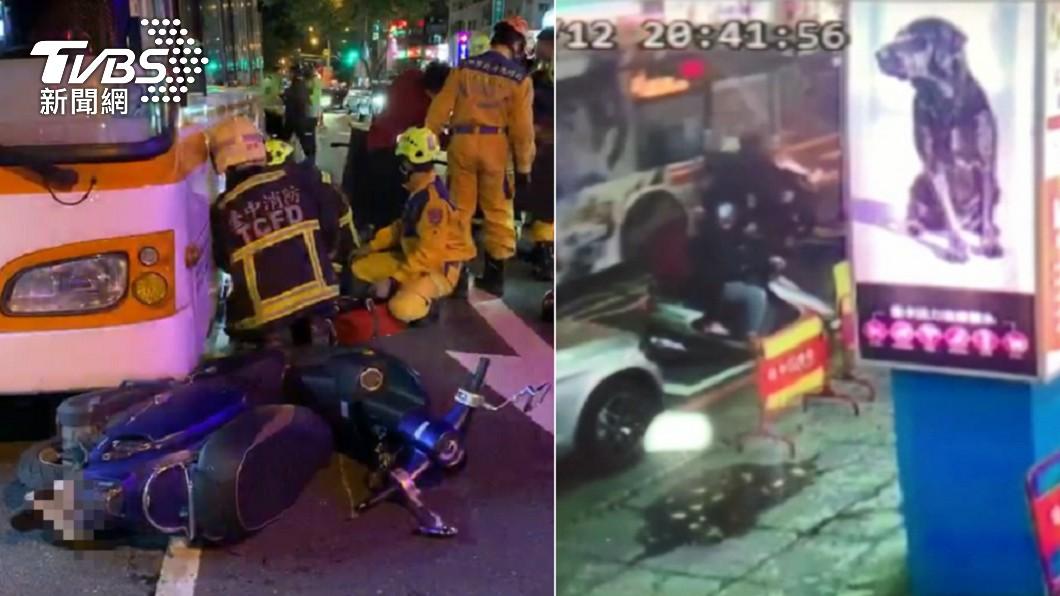台中公車輾壓停等紅燈的女騎士致死。(圖/TVBS資料畫面) 停紅燈遭公車輾斃! 司機判10個月眾怒:人命不值得