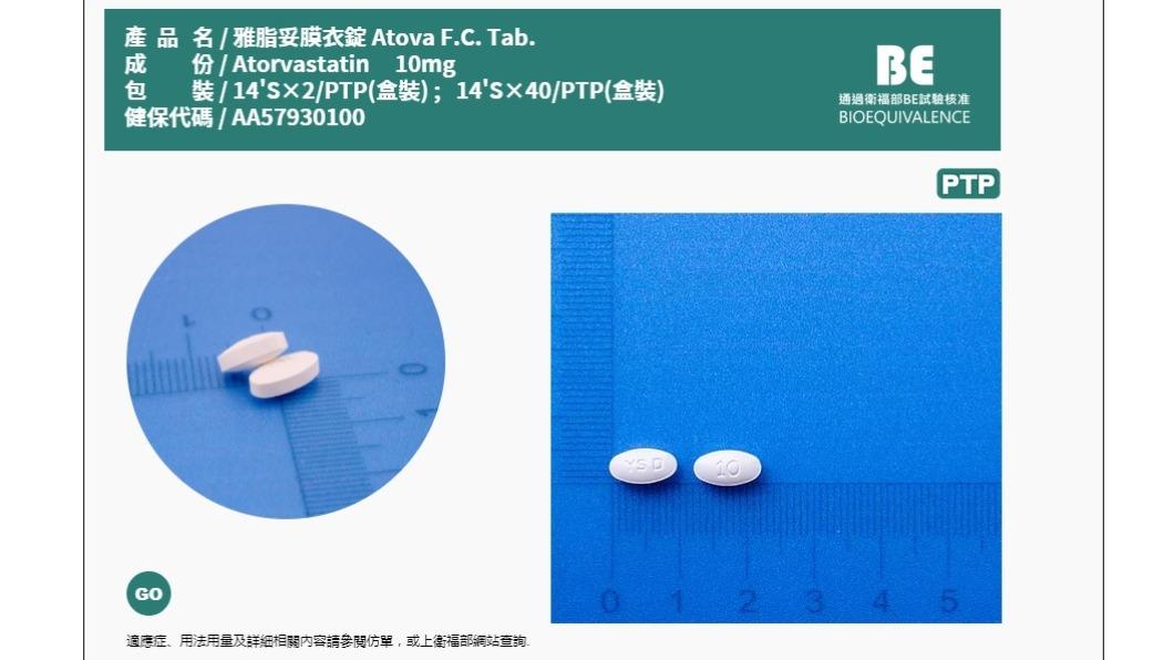 (圖/翻攝自優生製藥網頁) 原料藥不純物疑慮 雅脂妥膜衣錠200萬顆急回收