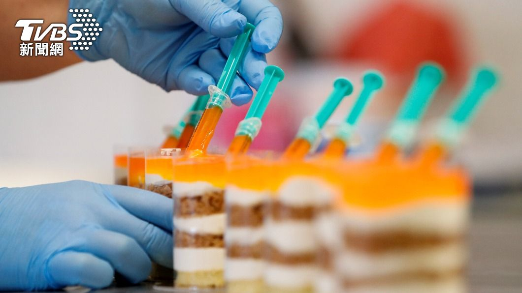 匈牙利甜點店日前推出以新冠疫苗為主題的創意新品。(圖/達志影像路透社) 可以吃的疫苗?匈牙利甜點店推出新冠疫苗口味慕斯