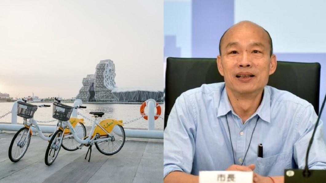 韓國瑜於市長任內攜手微笑單車引進YouBike2.0。(合成圖/翻攝自YouBike高雄粉絲團、韓國瑜臉書) 韓國瑜政績奪「高雄最有感建設」 他嘆:2年贏10年