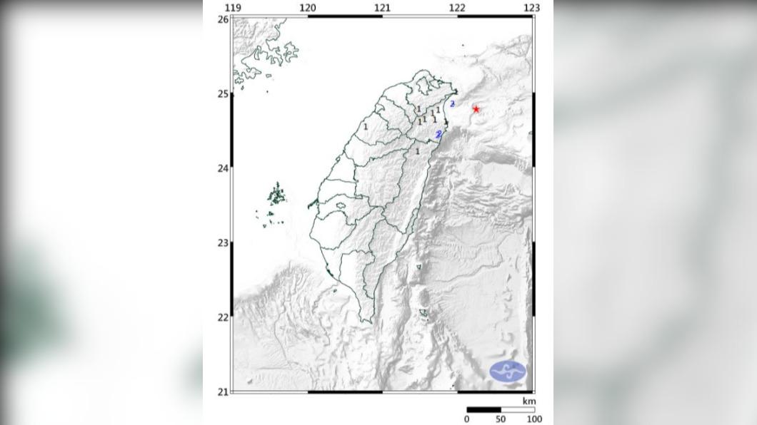 圖/交通部中央氣象局 快訊/宜蘭地震芮氏規模4.3 宜蘭最大震度2級
