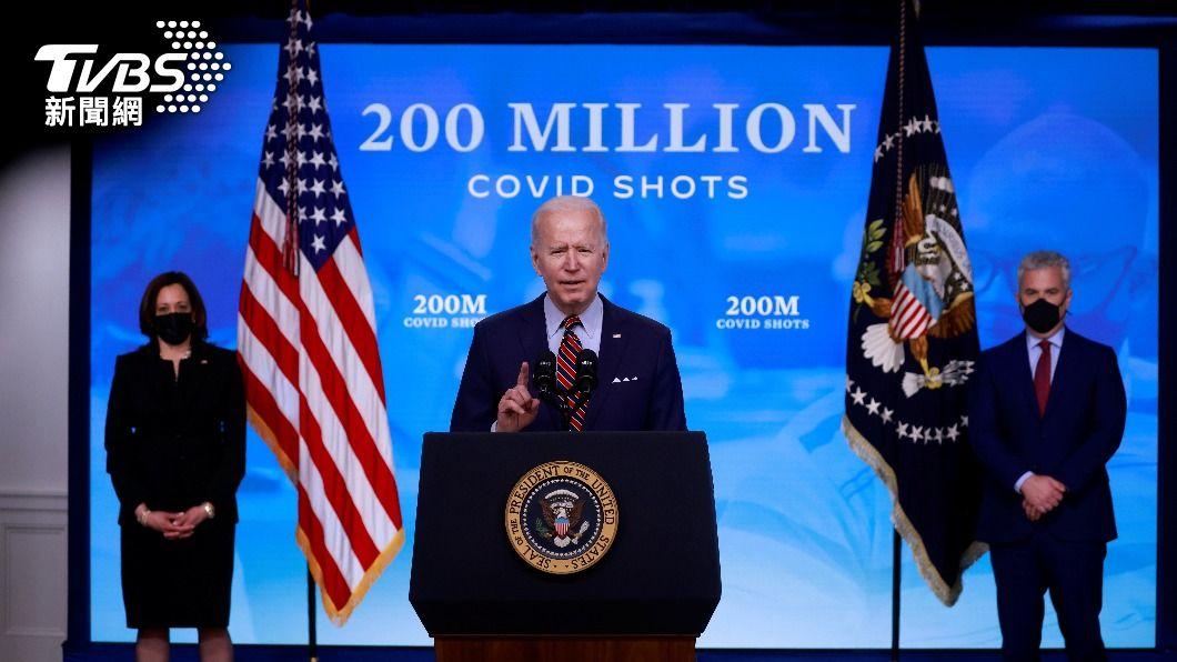 美總統拜登宣布全美已施打2億劑疫苗。(圖/達志影像路透社) 美接種完2億劑新冠肺炎疫苗 拜登讚絕佳成就