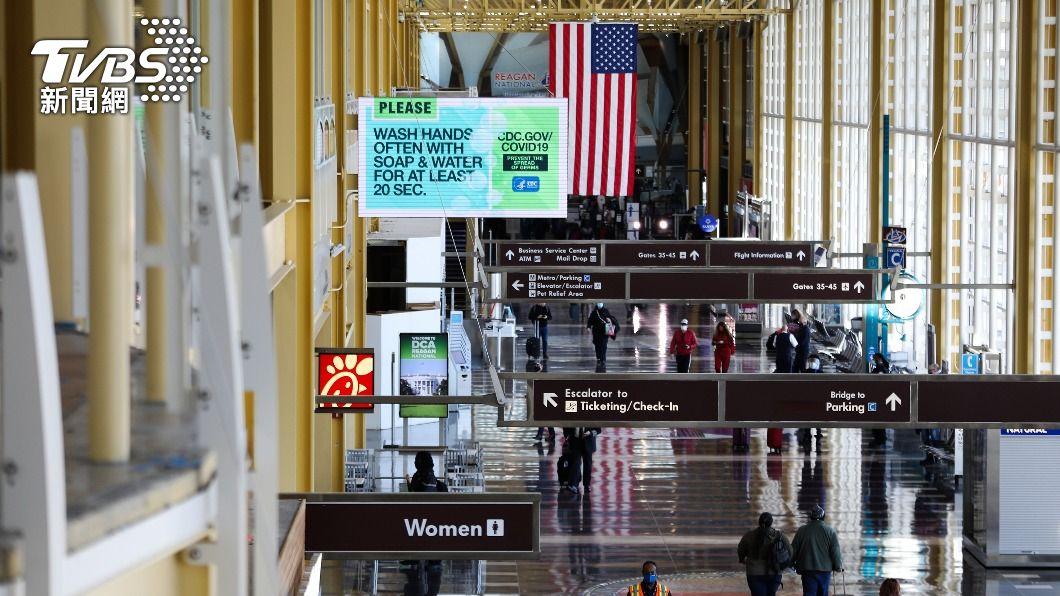 圖為美國雷根國家機場。(圖/中央社) 美收緊旅行警示增列116國請勿前往 台灣升至3級
