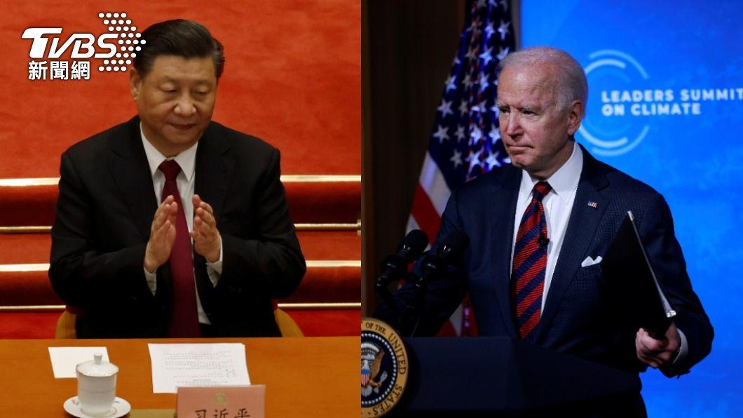 中國國家主席習近平、美國總統拜登。(合成圖/達志影像路透社) 拜登宣布美2030減排5成 習近平重申2060碳中和