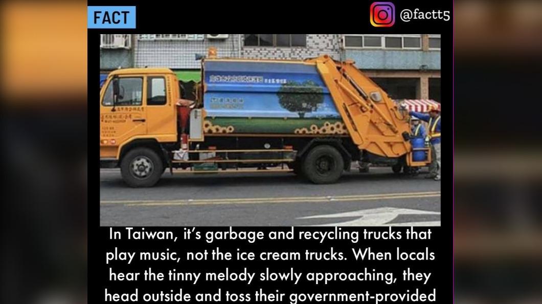 國外粉絲專頁分享台灣垃圾車文化,引發網友熱烈討論。(圖/翻攝粉絲專頁FACT) 台「垃圾車」文化登國外粉專 歪果仁:那不是冰淇淋車嗎?