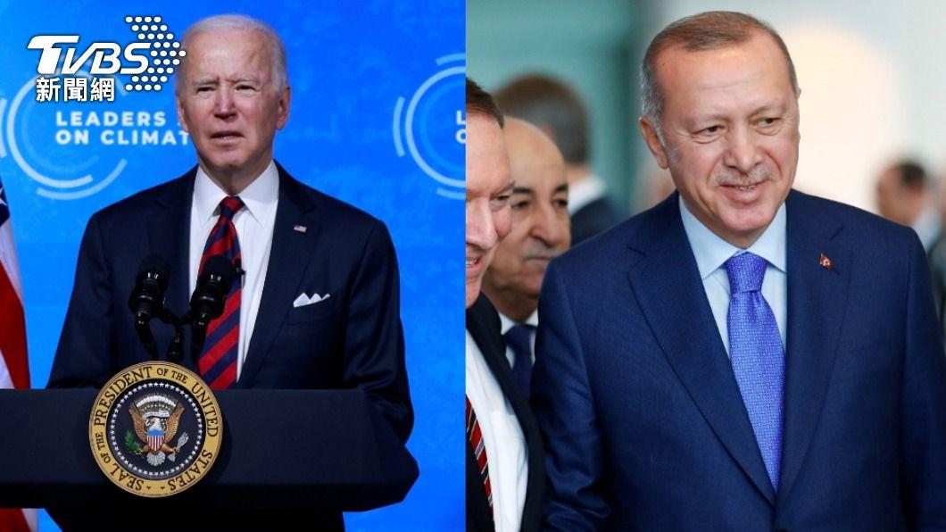 美國總統拜登、土耳其總統艾爾段。(圖/達志影像路透社) 傳拜登向艾爾段預告 將認定亞美尼亞種族滅絕