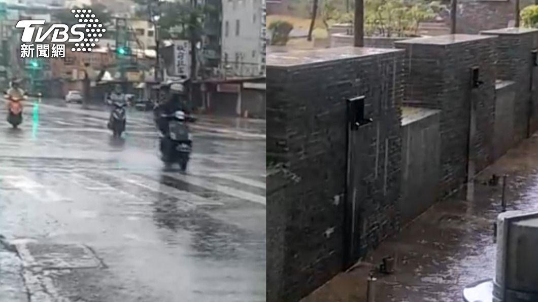 高雄清晨終於下起大雨。(圖/TVBS) 梅雨季前奏全台有感!高雄人聽雨聲嗨翻「沒那麼感動過」