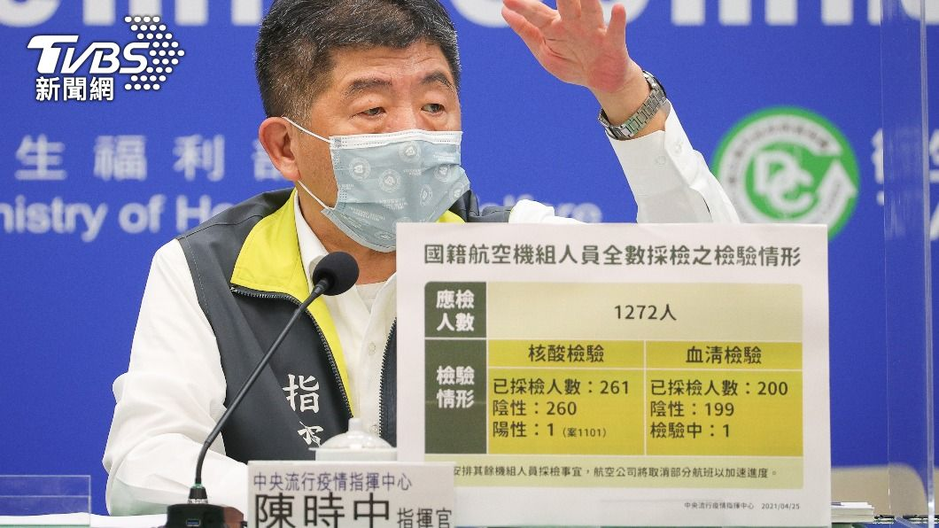 陳時中表示目前還正在釐清確診機師的感染源。(圖/中央社) 華航再增2機師染疫 陳時中:和澳洲確診機師無關