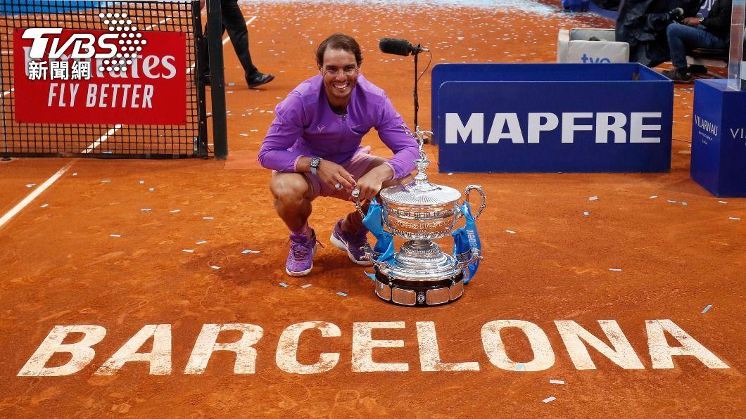 納達爾奪下巴塞隆納公開賽冠軍。(圖/達志影像路透社) 巴塞隆納網球公開賽 納達爾勇奪生涯第12冠