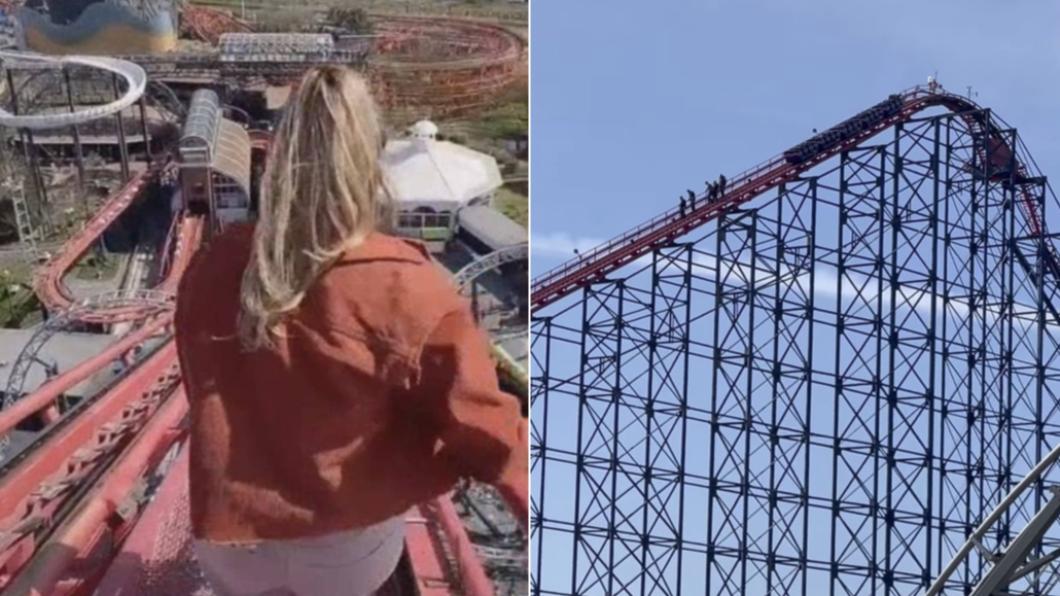 遊客從65公尺高軌道走樓梯逃命。(合成圖/翻攝自Daily Mail) 卡住最高點!遊客從「英最高軌道」走下逃命 腿軟畫面曝