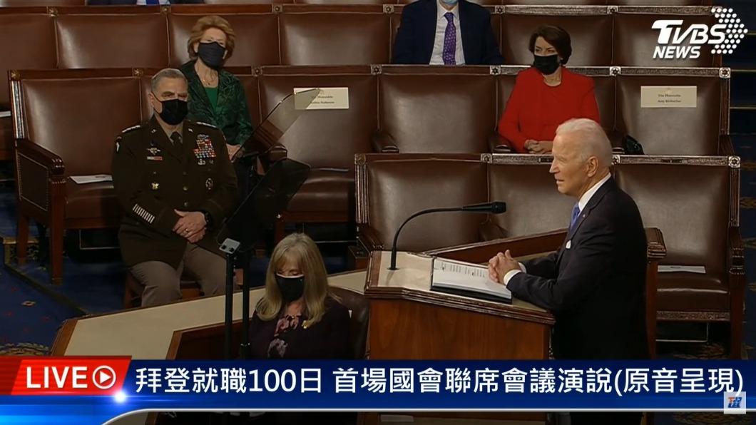 美國總統拜登在百日演說談到要救援美國,但共和黨完全不買帳。(圖/TVBS) 拜登演說稱「救援美國」 龐佩奧不買單:激進的社會主義