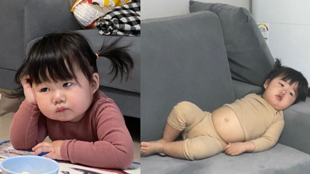 韓國小妹妹以生無可戀的表情爆紅。(圖/翻攝自luvv_hyul1 IG) 韓國小妹藏大叔魂 「渾圓肚配厭世臉」狂吸12萬粉