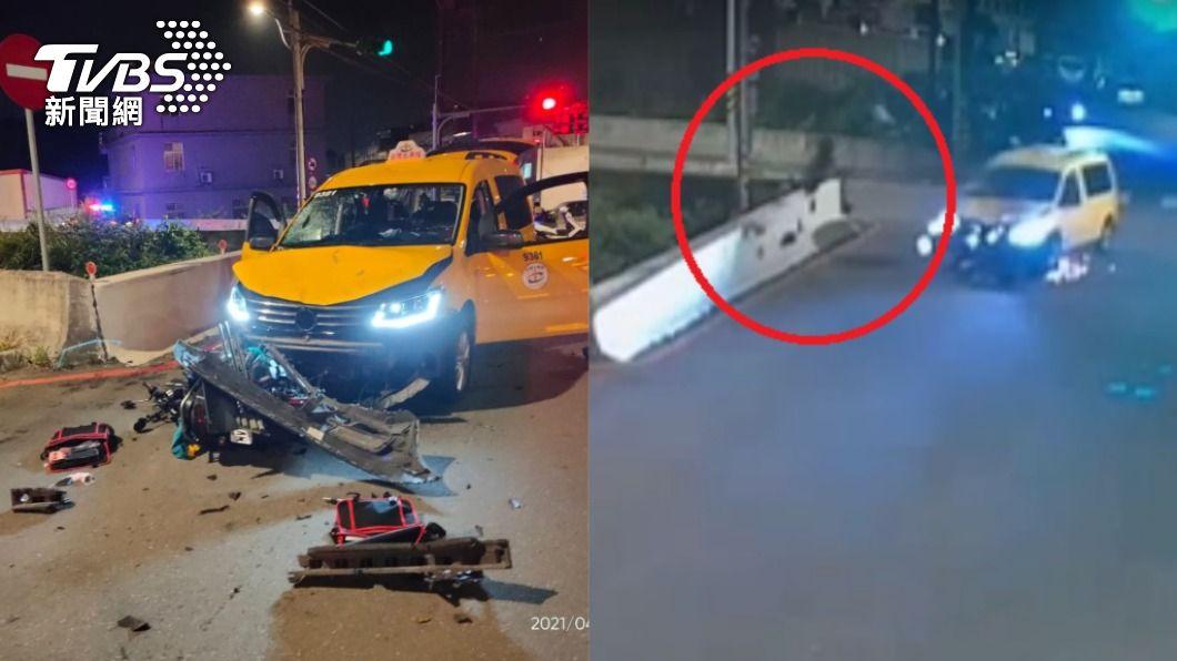 重機騎士、乘客掉落路旁大圳。(圖/TVBS) 奪命15秒!雙載重機闖紅燈遭撞飛 慘墜大圳1死1失蹤