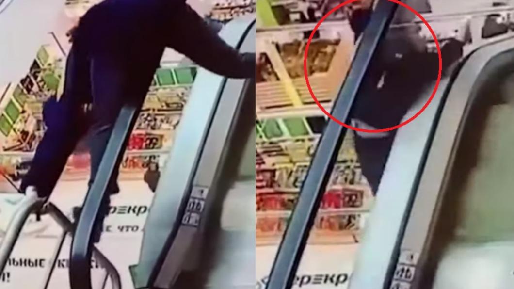 男童從手扶梯墜落。 (圖/翻攝自ВСЕ НОВОСТИ МИРА ТУТ YouTube) 硬騎手扶梯手把 俄男童遭硬扯「3樓墜地斷腿」慘叫