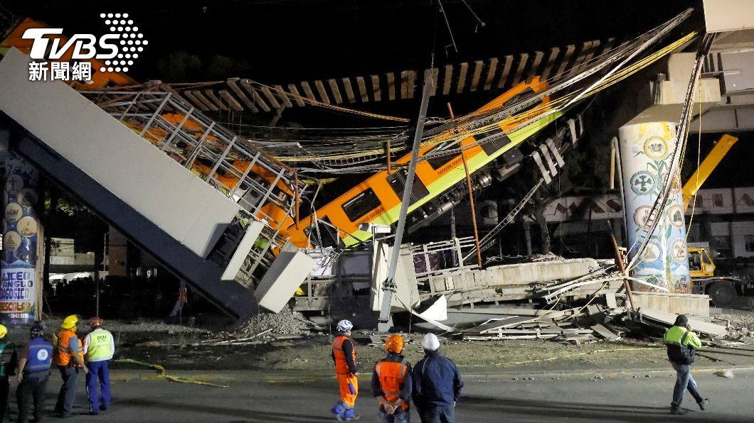 墨西哥市內捷運高架軌道坍塌。(圖/達志影像路透社) 墨西哥捷運高架軌道坍塌! 釀23死65傷