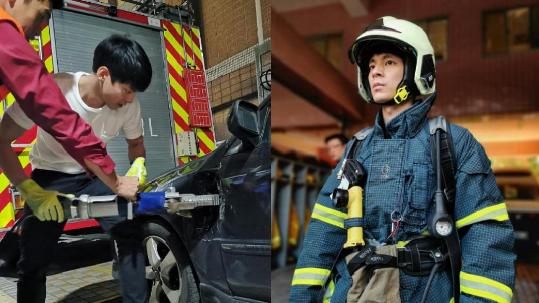 林柏宏為《火神的眼淚》到消防分隊實習。(圖/翻攝自林柏宏臉書) 林柏宏《火神》實習 震撼目睹消防員「努力留下生命」