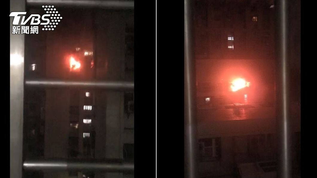 青年國宅發生火警。(圖/TVBS) 萬華國宅9樓竄火! 濃煙沖天「救出1長者」