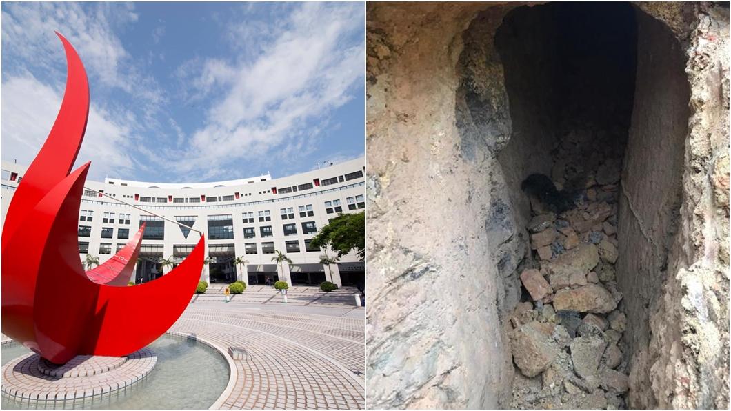 香港科技大學宿舍施工發現神秘隧道。(合成圖/翻攝自香港科技大學臉書、香港01授權提供) 港科大宿舍施工驚見「神秘隧道」急停工 內部照片曝光