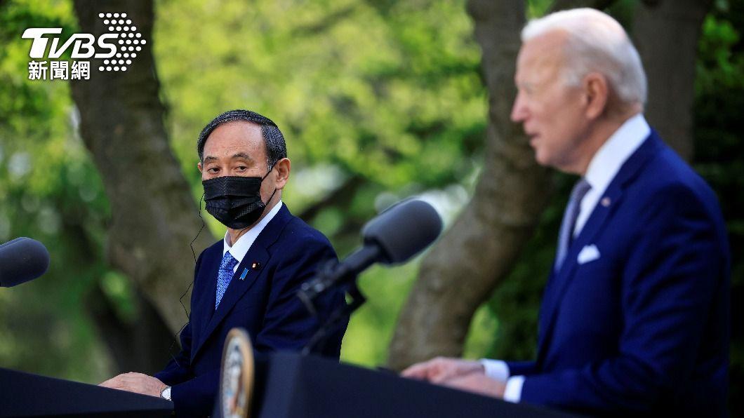 日本首相菅義偉(左)在華府與美國總統拜登(右)舉行美日高峰會。(圖/達志影像路透社) 美日高峰會台灣成矚目焦點 全球政經板塊大移動