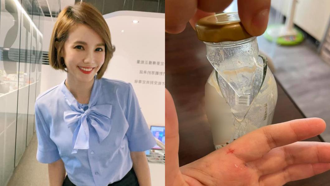 王偊菁幫孩子開牛奶瓶,結果一扭就裂被割傷。(圖/翻攝自王偊菁臉書) 小心!女主播幫孩開牛奶瓶「一扭就裂」 見血險刺進手掌