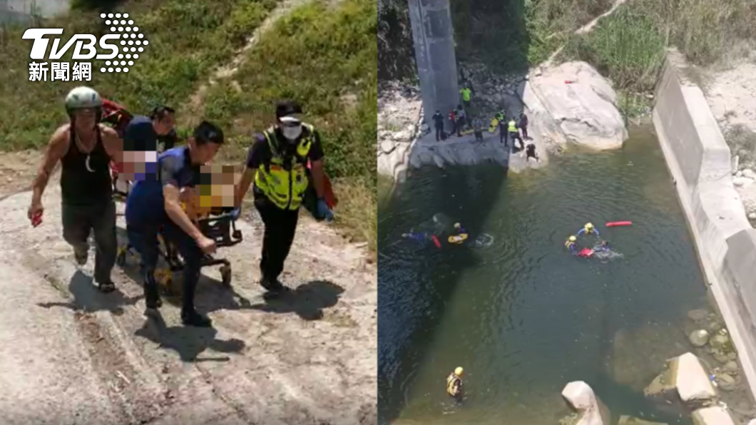 台中市發生溪水溺斃事件。(圖/TVBS) 控醉男溺水「拉兒腳害滅頂」 母急診室外喪子痛哭