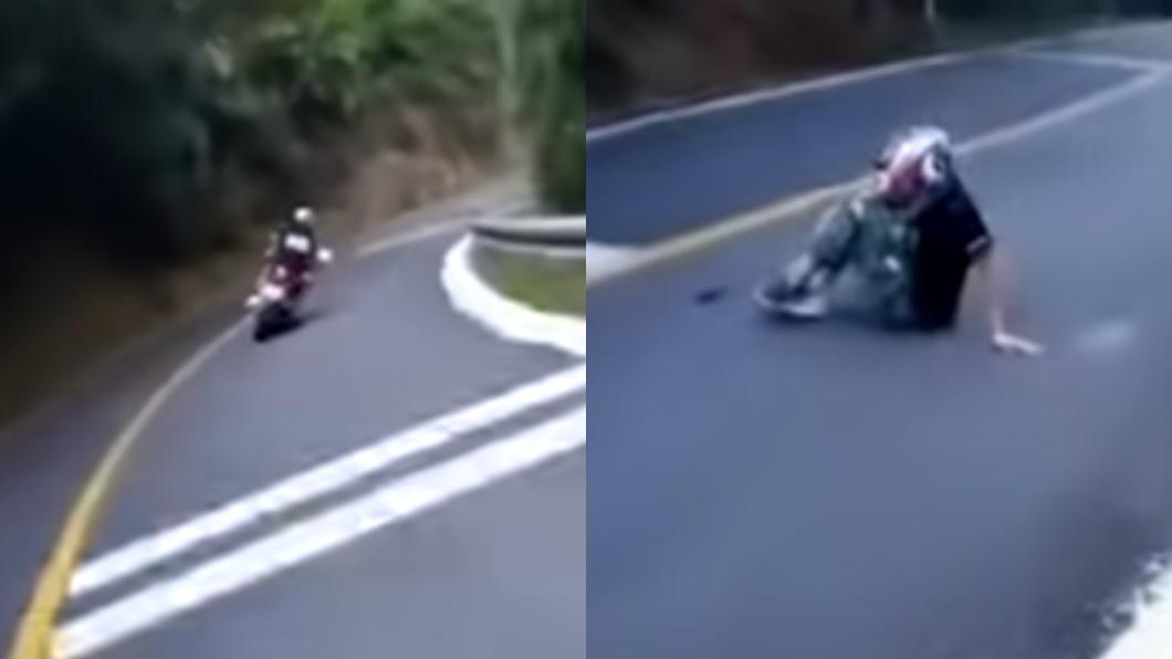重機騎士失控自摔。(圖/翻攝自YouTube) 騎士壓車重摔!腳踝「骨斷剩皮」滴血 網嚇:治好也廢了